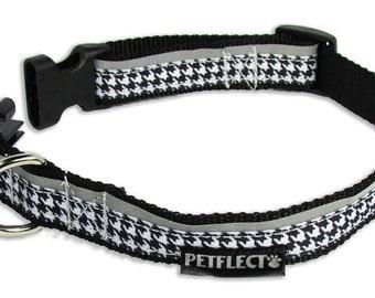 Black Hounds Tooth Reflective Dog Collar