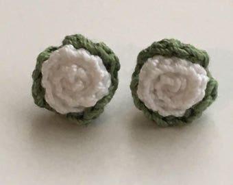 WHITE STUD EARRINGS crochet rosebud free shipping