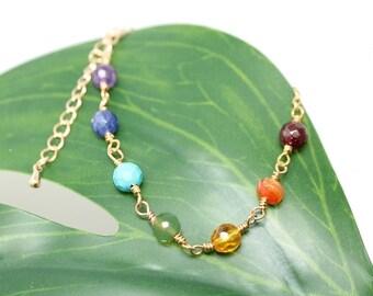 NEW! Chakra Bracelet, real gemstones, adjustable, yoga, boho, womans, rocker, amethyst, citrine, turquoise, free worldwide shipping!