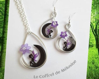 Necklace and earrings fairy on the Black Moon, flowers and purple wings