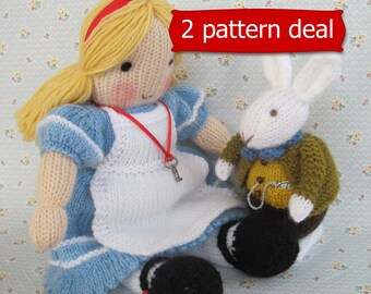 Alice in Wonderland and White Rabbit - 2 PDF knitting patterns - INSTANT DOWNLOAD