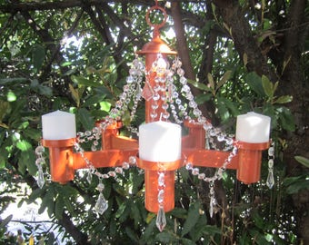 Cinnamon HANGING CHANDELIER CANDLE Holder/ 5 Arm with Acrylic Crystals/Pillar or Votive Candles
