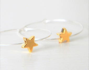 Sterling Silver Hoop Earrings,  Gold Star Hoop Earrings, Silver Hoops with Star Charms