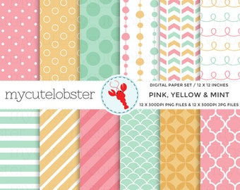 Pink, Yellow, Mint Digital Paper - patterned paper, polka, stripe, quatrefoil, arrows - personal use, small commercial use, instant download