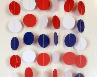 America Patriotic Party Decor Paper Garland | Fourth of July Party Decor | Patriotic Barbeque Party | Red White and Blue