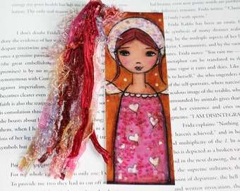 Little Angel in Pink - Laminated Bookmark  Handmade - Original Art by FLOR LARIOS