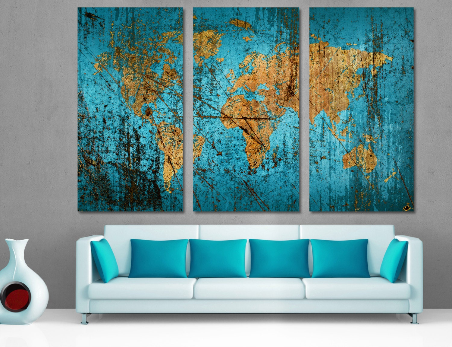 Munsell Blue World Map Canvas Print 3 Panel Split, Triptych Abstract Wall Art For home living room wall decor, interior design. Multi Panel.