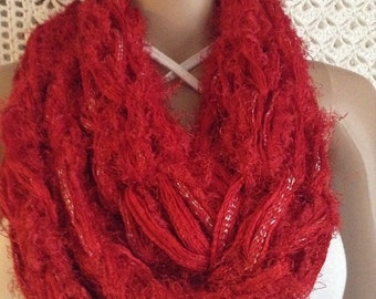 Handknit Chunky Red Cowl
