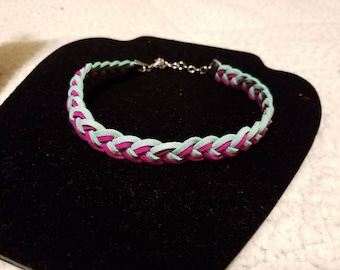 Braided suede choker with earring