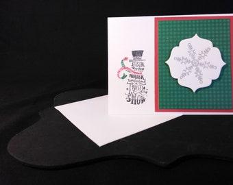 Christmas Card| Season's Greetings Winter Wonderland Frosty Let It Snow