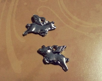 Flying Pig Charms Pig Pendants Pigs With Wings When Pigs Fly Silver Pig Charms Fairy Tale Charms Fairytale Charms 6 pieces
