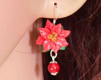 Poinsettia Earrings, Handmade from Polymer Clay.  Perfect Accessory for Winter Solstice, Yule, Christmas