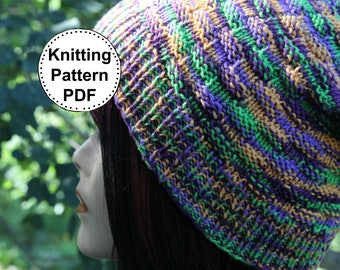 KNIT HAT PATTERN Instant Pdf Download - Dishcloth Slouchy Beanie Textured Slouch Hat Pattern Womens Teen Winter Fall