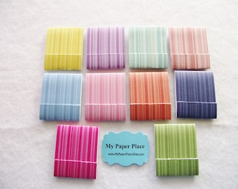 20 Rainbow Stripes Matchbook Notepads - 12 Extra Large Fold Over Sheets