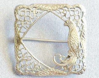 Delicate Filigree, Silver Rodium Plated, 'Frame With Bird' Pin