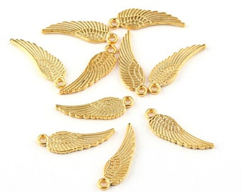 Mini Angel Feather Wings, Gold Angel Wings, 22k matte gold plated, 10 pieces // GPCh-120