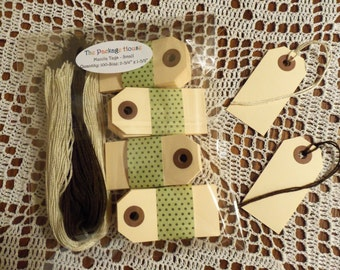 """Manila Tags, 100 Small Manila Tags,  2 3/4"""" x 1 3/8"""" - Gift Tags, Wish Tags, Blank, With or Without Strings - Your Choice"""
