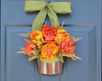 Bucket of Peonies Fall Wreaths- Fall Peonies Door Wreath Alternative- Outdoor Decor- Thanksgiving Wreath- Fall Decor- Year Round Wreath