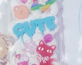 READY To SHIP Kawaii Fairy Kei Cute Kitty Iphone 5 Deco Case Cute Cat Star