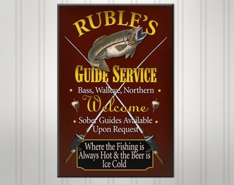 Personalized Fishing Sign, Burgundy or Green Lake Cabin Pub Sign, Custom Beer Sign, Personalized Sign, Personalized Man Cave Bar Decor