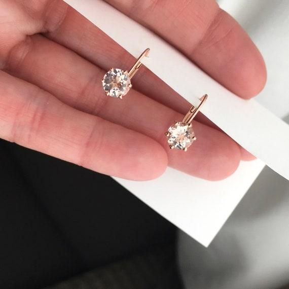 Morganite 14k Rose Gold Six Prong Earrings