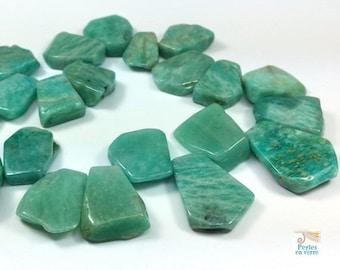 5 beads Brown green amazonite, 15-25mm petals (pg164)