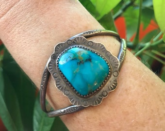 Vintage Genuine Turquoise Bracelet- Native American Jewelry- Sterling Silver- Stone Cuff- Gift for Sagittarius- Turquoise Jewelry