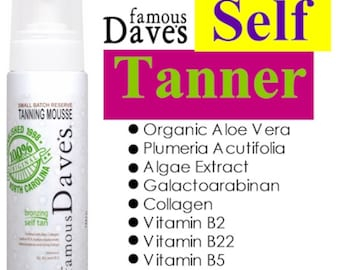 Organic Self Tanner | Small Batch Dark Mousse | FREE SHIPPING | Organic Natural Anti-Aging | Dave's Sunless Tan with Bronzer