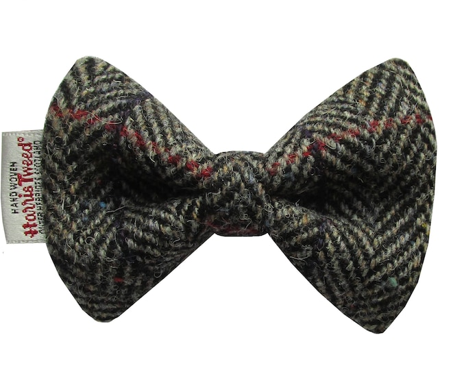 Harris Tweed Black/Grey Herringbone with Checks & Flecks Designer Dog Bow Tie
