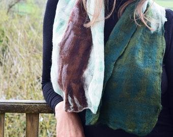 Tree cobweb felted scarf