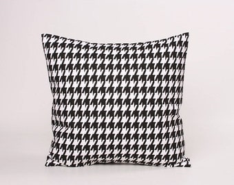 SALE Black and White Houndstooth Pillow Cover in Premier Prints, Black Accent Pillow,  Designed to fit 16, 18, 20 or 22 Inch Standard Insert