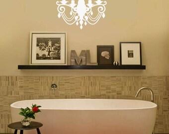 Elegant Bathroom Chandelier VInyl Wall Decal Chandalier Large Size Options 39+ colors
