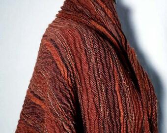 Vintage en laine marron rouille Orange châle tissu, laine créateur crépu texturé nouveauté tissu jet