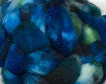 Merino Super Wash  Roving  Hand dyed black, blue, green