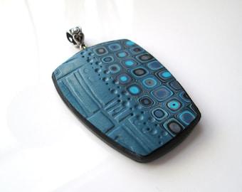 Blue Textured pendant, Gustav Klimt Pendant, Jewelry, Polymer Clay Pendant, Handmade, Blue Pendant, Polymer Clay, Gift for Her, Mom Gift