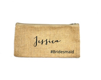 Personalized Cosmetic Bag, Bridesmaid Cosmetic Pouch, Cosmetic Bag, Bridesmaid Gift, MakeUp Bag, Burlap, Custom Name Pouch, BridesmaidClutch