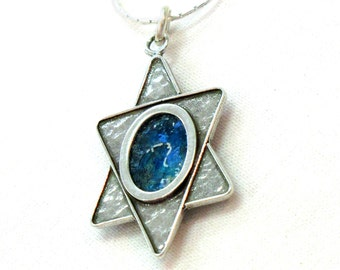 Ancient Roman Glass Bold Necklace, Silver Judaica Magen David Necklace, Blue Star of David Pendant, Roman Glass Jewelry Made In Israel
