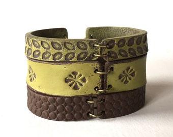 Green Cuff, Fall Leather Inspired Layer Bracelet, Yoga Jewelry, Pattern Bangles, Artisanal Designer Jewelry, Matcha