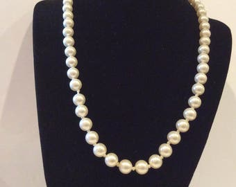 "Vintage Hand knotted Pearl necklace, Faux Pearl necklace, Ornate Silver Pinch Clasp, 18 1/2"" long"