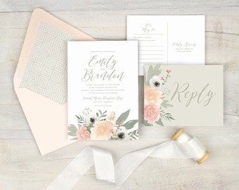 Blush floral wedding invitation, romantic wedding invitation, watercolor floral, blush wedding, blush and gray wedding, printed invitations