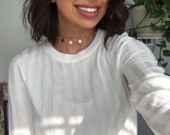 Silver Dangle Star Chain Choker Necklace, Star Choker, Gift for her, Layered Choker Necklace