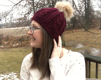 Maroon Cable Crochet Beanie Winter Hat with Faux Fur Pompom Adult Woman