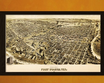 Old Fort Worth Map Texas 1891 - Antique Map Print Old Map Texas Map of Fort Worth Map Poster Texas Poster Fort Worth Poster Birthday Gift