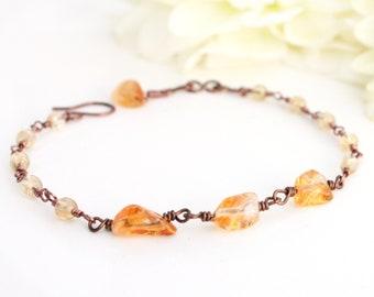 Citrine Bracelet, Citrine Nugget Bracelet, Minimalist Bracelet, Simple Bracelet, Eco Friendly Jewelry, Sustainable Jewelry