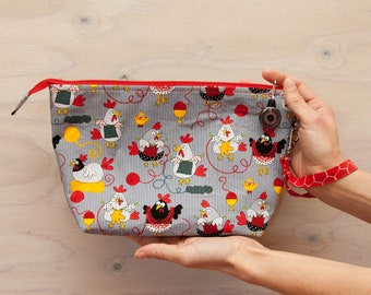 Knitting project bag, chickens, crochet bag, medium bag, wrist strap, zipper pull, knitting chickens, red, grey, yellow