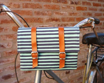 SALE! Blue stripes cotton canvas and leather bicycle bag/ handlebar bag/ bicycle accessories/ cotton canvas bag/ lunchbox bag