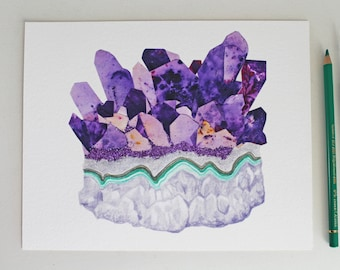 """Crystal Collage 1. """"Amethyst Cluster."""" Archival Print - Hand-embellished with glitter"""