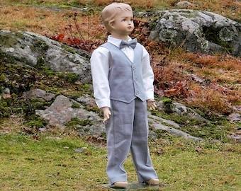 Grey ring bearer outfit, boys suit.Grey boys linen suit.  Toddler boy formal wear. Linen pants and vest, linen shirt. Boys wedding attire