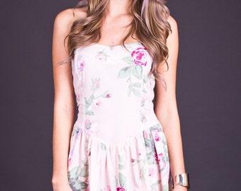 SALE 50% OFF 80s Vintage Pale Pink Floral Print Sweetheart Mini Dress