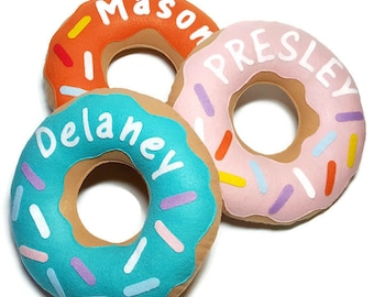 Personalized Felt Donut Pillow!! your choice of colors & sprinkles!! customized doughnut pillow